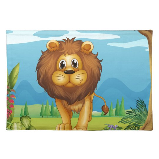 A big lion in the garden place mats