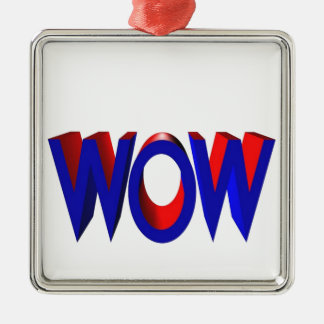 A Big Wow Text Silver-Colored Square Decoration