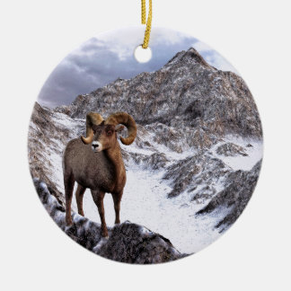 A Bighorn Sheep looks into the valley Christmas Ornament