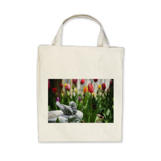 A Bird And A Tulip Tote Bags