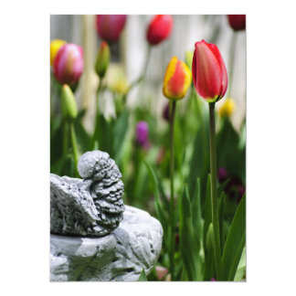 A Bird And A Tulip 5.5x7.5 Paper Invitation Card