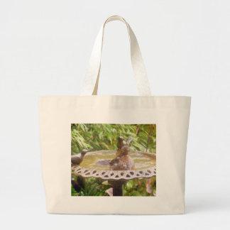 A Bird In The Bath Jumbo Tote Bag