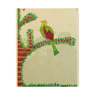 A bird on a branch wood print