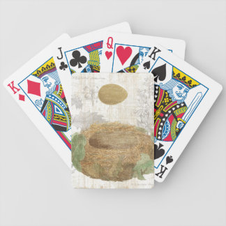 A Bird's Nest with a Brown Egg Bicycle Playing Cards