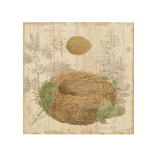 A Bird's Nest with a Brown Egg Wood Wall Decor