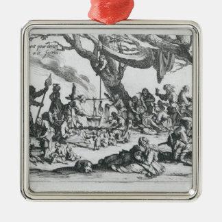 A Birth in a Gypsy Camp Silver-Colored Square Decoration