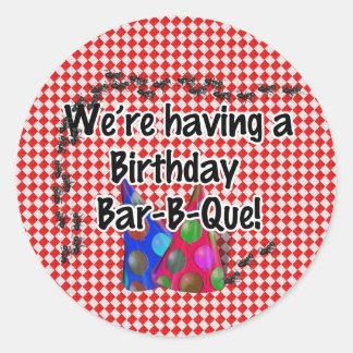 A Birthday Bar-B-Q Party Round Sticker