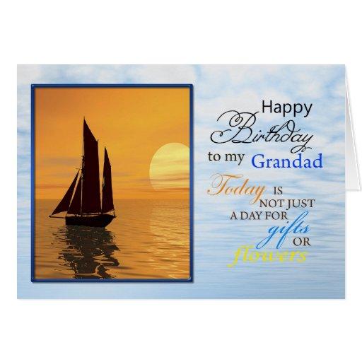 A birthday card for Grandad. A yacht sailing.