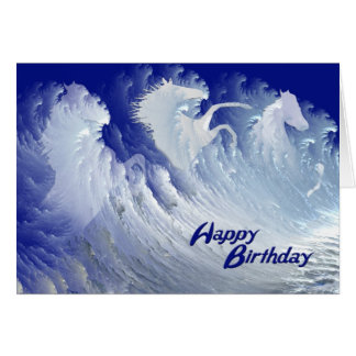 A birthday card with wild white surf horses