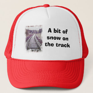A bit of snow on the track trucker hat