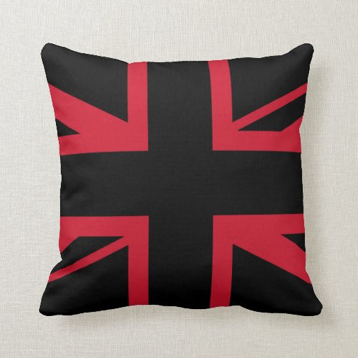 a black and red union jack throw pillows zazzle. Black Bedroom Furniture Sets. Home Design Ideas