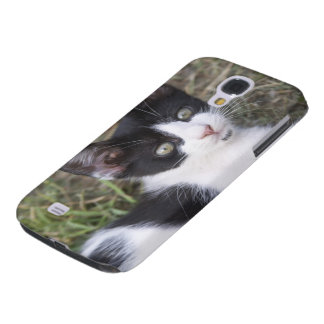 A black and white cat kitten in the garden. galaxy s4 case