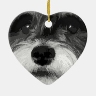 A black and white Miniature Schnauzer Christmas Ornament