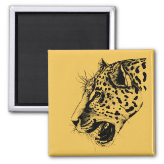 A Black and Yellow Hand Drawn Leopard Illustration 2 Inch Square Magnet