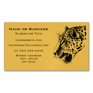 A Black and Yellow Hand Drawn Leopard Illustration Magnetic Business Cards