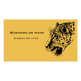 A Black and Yellow Hand Drawn Leopard Illustration Pack Of Standard Business Cards