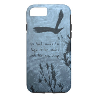 A Black Bird in Flight on a Trippy Blue Background iPhone 8/7 Case