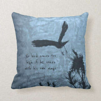 A Black Bird in Flight on a Trippy Blue Background Throw Pillow
