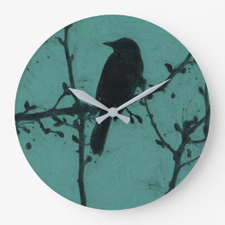 A Black Bird on a Branch with a Teal Background Large Clock