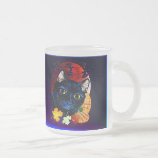 A Black Cat Halloween mugt Frosted Glass Mug