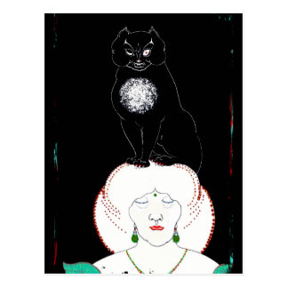 A Black Cat on Her Head Postcard