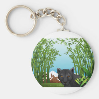 A black panther at the bamboo forest key ring
