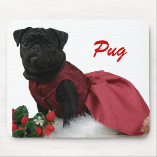 A Black Pug in a Red Dress Mouse Pad
