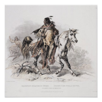 A Blackfoot Indian on horse-back.