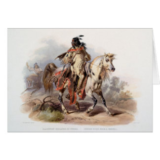 A Blackfoot Indian on horse-back Greeting Card