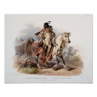 A Blackfoot Indian on horse-back Poster