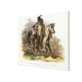 A Blackfoot Indian on Horseback, plate 19 from Vol Canvas Print