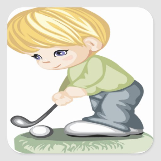 A blonde haired boy playing golf square sticker