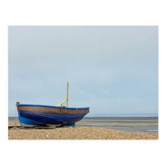 a blue boat. postcard