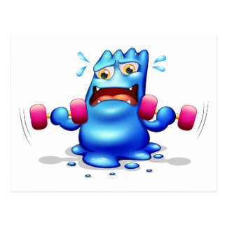 A blue monster exercising alone postcard