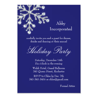 A Blue Offset Crystal Snowflake Holiday Invitation