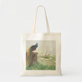A Blue Peacock and white peahen with chicks Budget Tote Bag