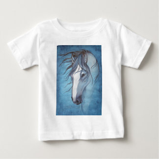 A blue roan horse in the wind baby T-Shirt