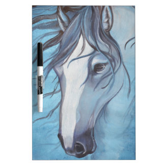 A blue roan horse in the wind dry erase board