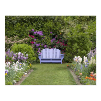 A blue seat welcomes you to a colorful spring postcard