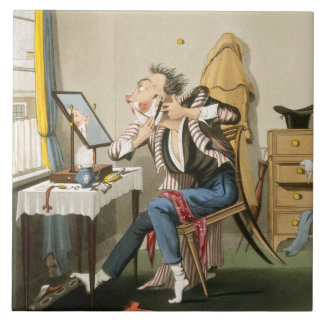 A Blunt Razor, pub. by Hunt, 1827 (coloured etchin Tile