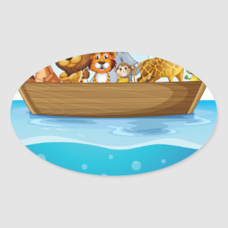 A boat at the sea with animals oval sticker