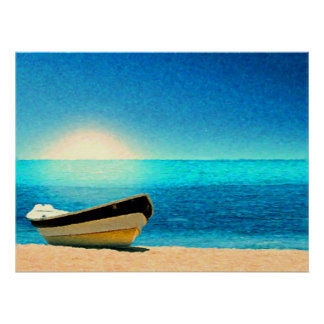 A boat beneath a sunny sky posters