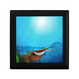 A boat trapped near the seaweeds small square gift box