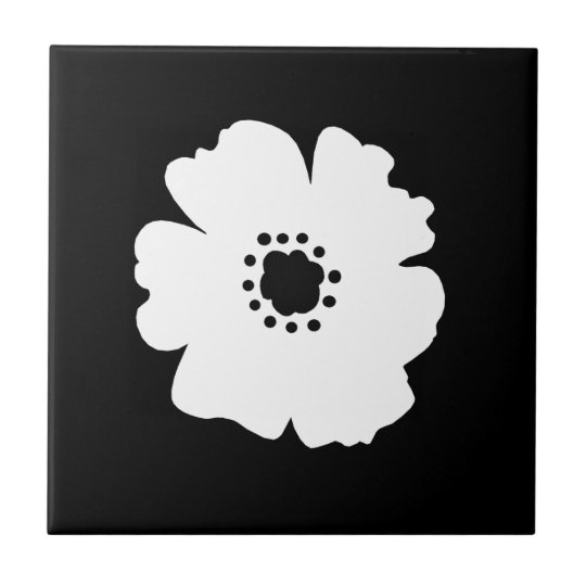 A Bold White Flower on Black Small Square Tile