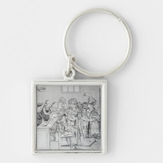 A Bond and Judgement Silver-Colored Square Key Ring