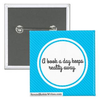 A Book A Day (button) 15 Cm Square Badge