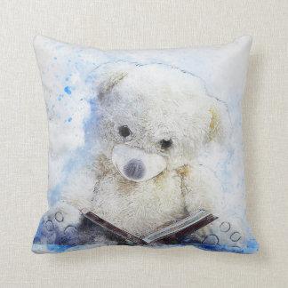 A Book at Bedtime - cute teddy bear design Cushion