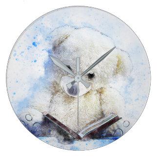 A Book at Bedtime - cute teddy bear design Large Clock