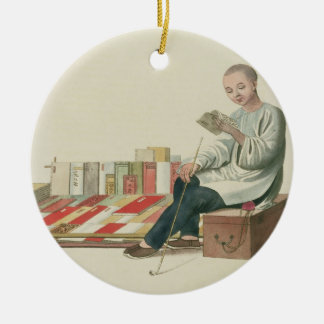 A Bookseller, plate 6 from 'The Costume of China', Christmas Ornament