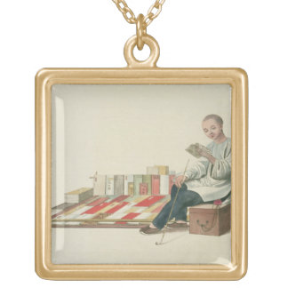 A Bookseller, plate 6 from 'The Costume of China', Gold Plated Necklace